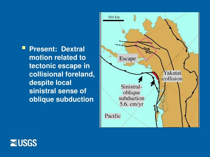 Present:  Dextral motion related to tectonic escape in collisional foreland, despite local sinistral sense of oblique subduction