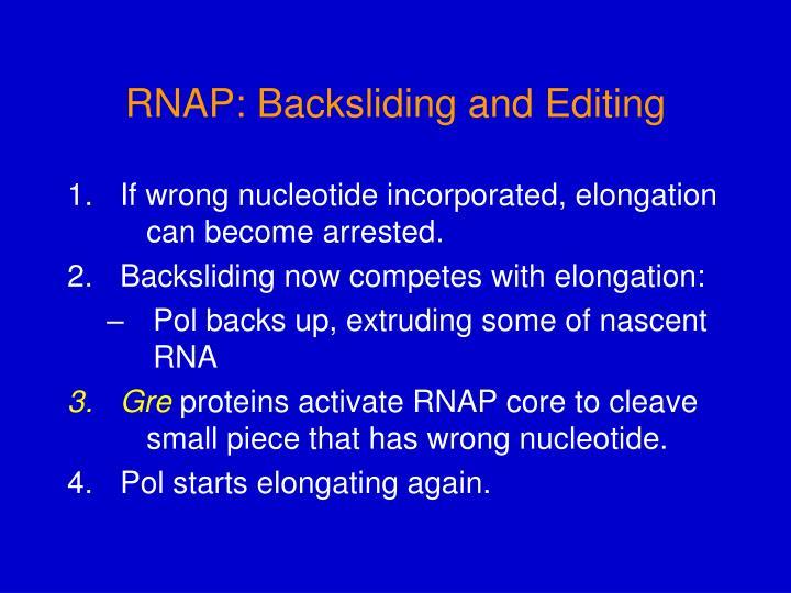 RNAP: Backsliding and Editing