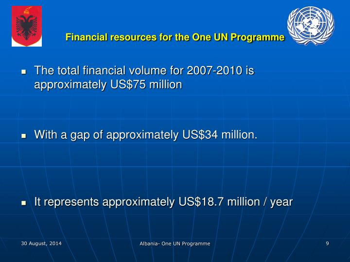 Financial resources for the One UN Programme
