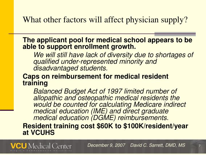What other factors will affect physician supply?