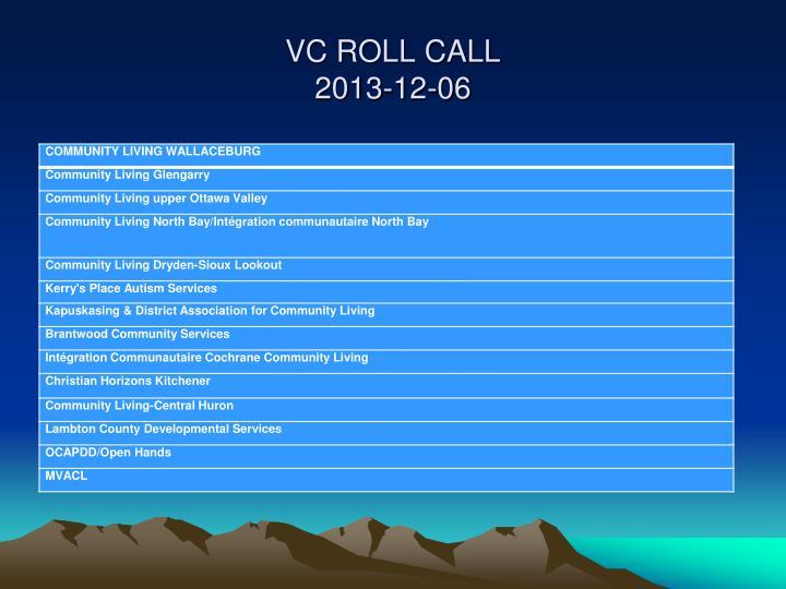 VC ROLL CALL