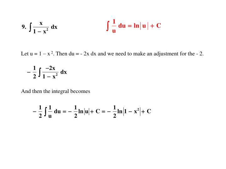 Let u = 1 – x