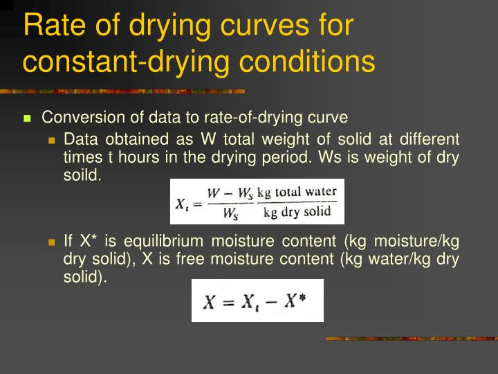 Rate of drying curves for constant-drying conditions