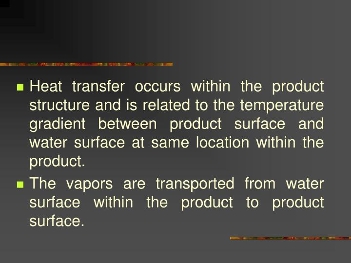 Heat transfer occurs within the product structure and is related to the temperature gradient between product surface and water surface at same location within the product.
