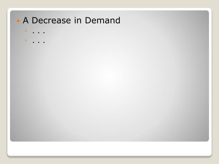 A Decrease in Demand