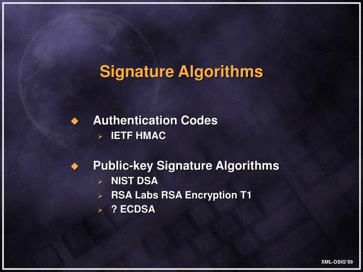 Signature Algorithms