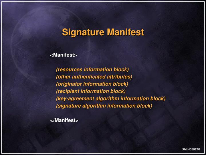 Signature Manifest