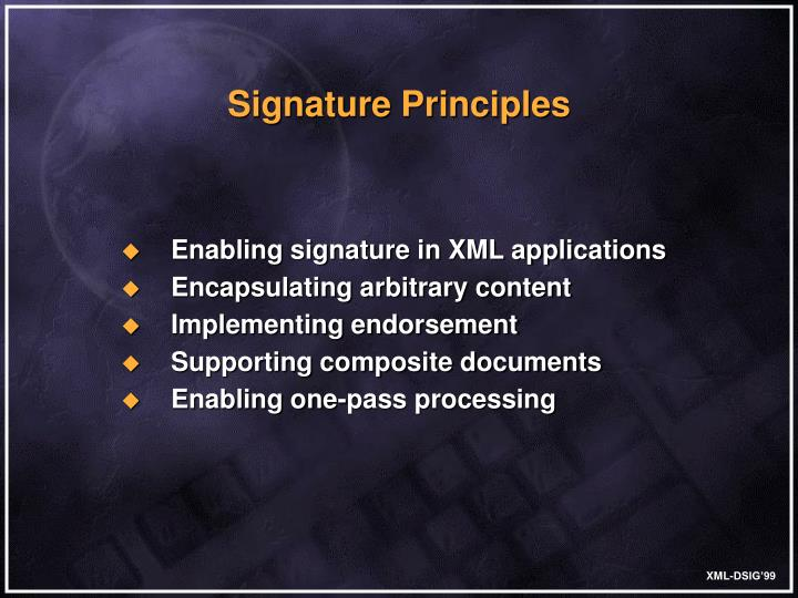 Enabling signature in XML applications