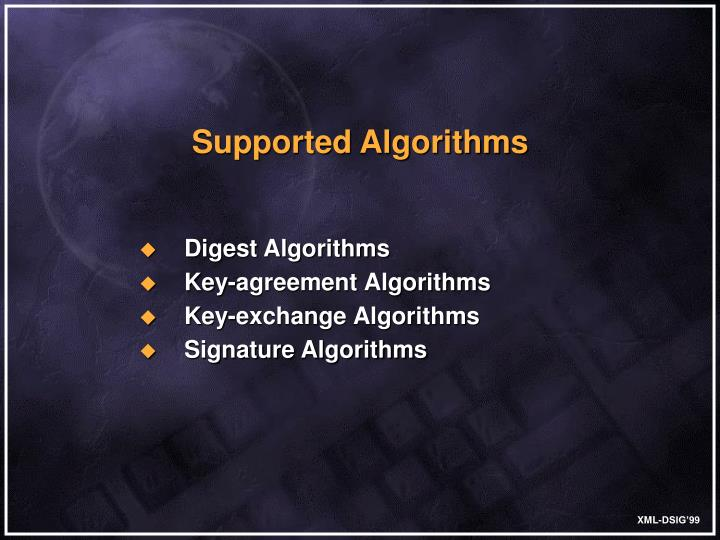 Supported Algorithms