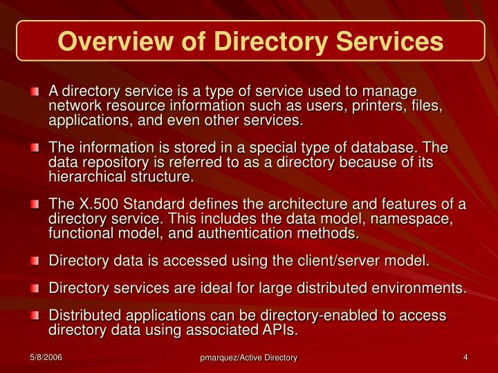 Overview of Directory Services
