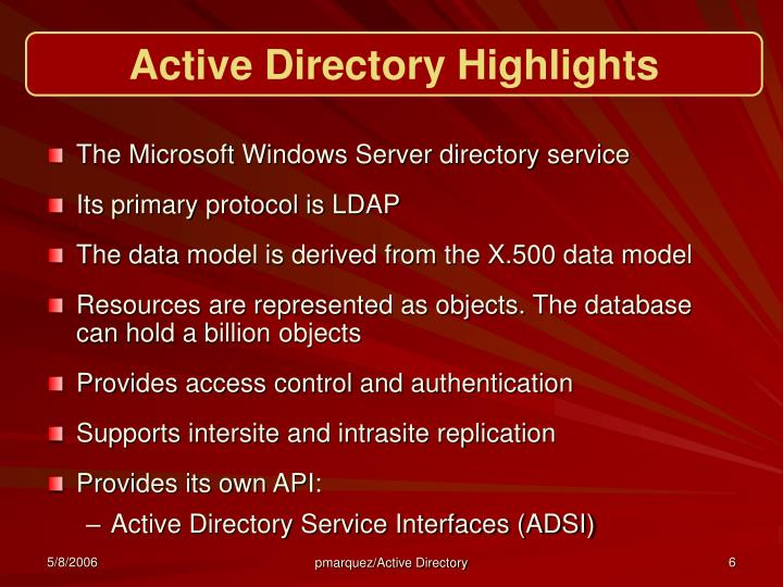Active Directory Highlights