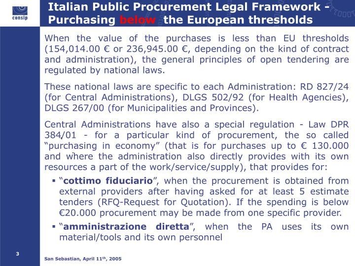 Italian Public Procurement Legal Framework - Purchasing