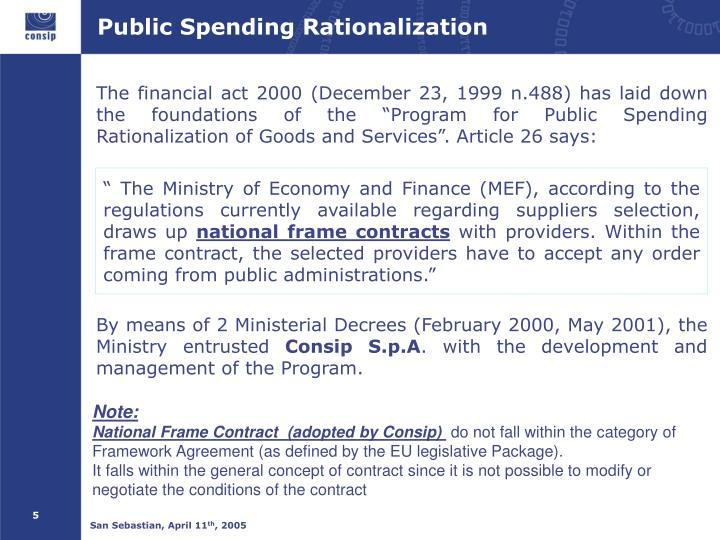 Public Spending Rationalization