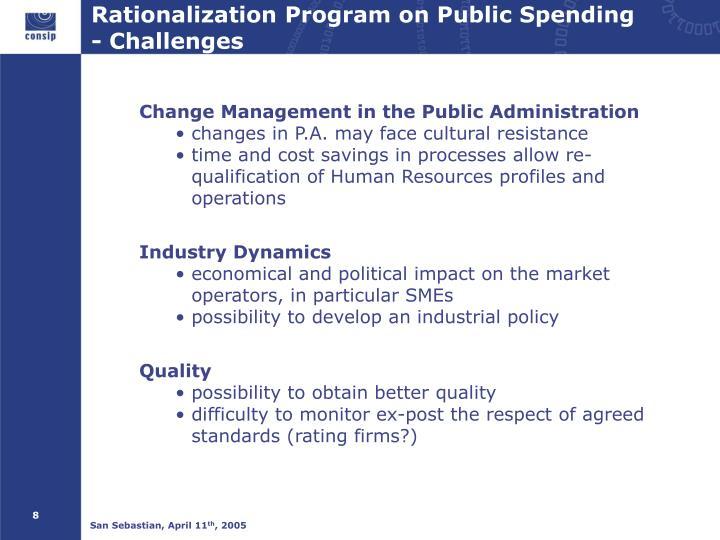 Rationalization Program on Public Spending                 -