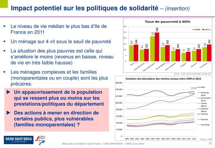 Impact potentiel sur les politiques de solidarité