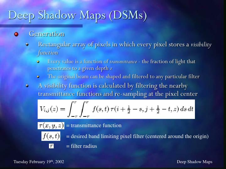 Deep Shadow Maps (DSMs)