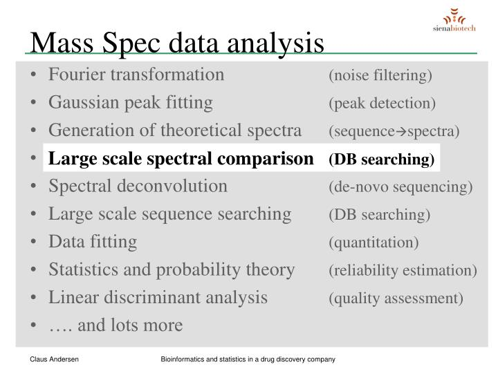 Mass Spec data analysis