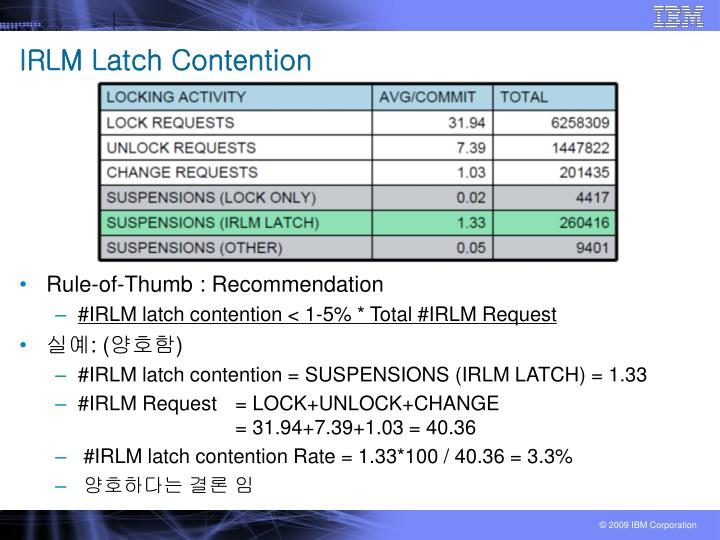 IRLM Latch Contention