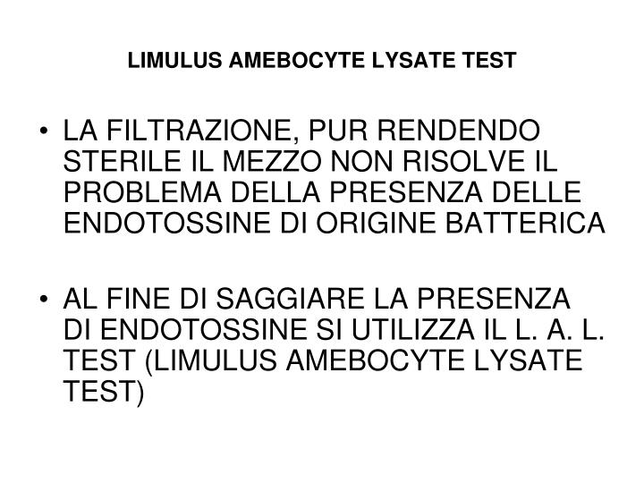 LIMULUS AMEBOCYTE LYSATE TEST