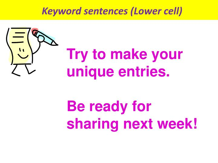 Keyword sentences (Lower cell)