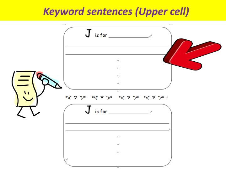 Keyword sentences (Upper cell)