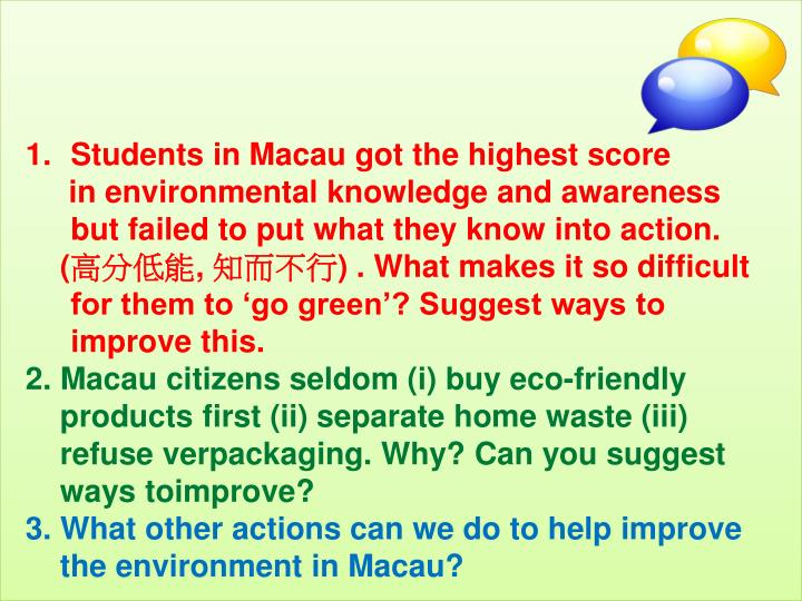 Students in Macau got the highest score