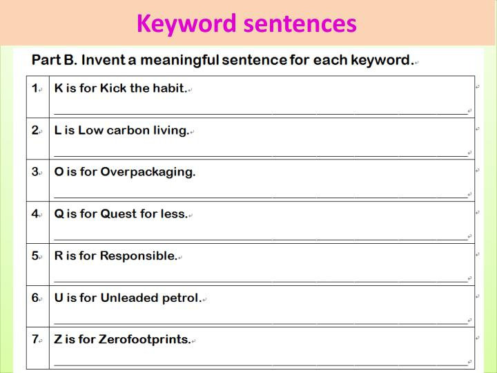 Keyword sentences