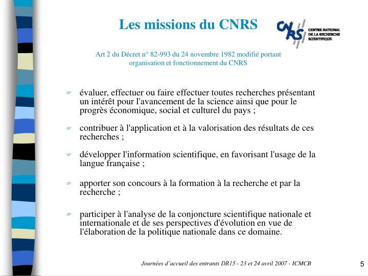 Les missions du CNRS