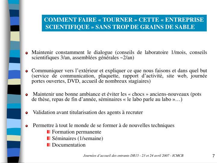 COMMENT FAIRE « TOURNER » CETTE « ENTREPRISE