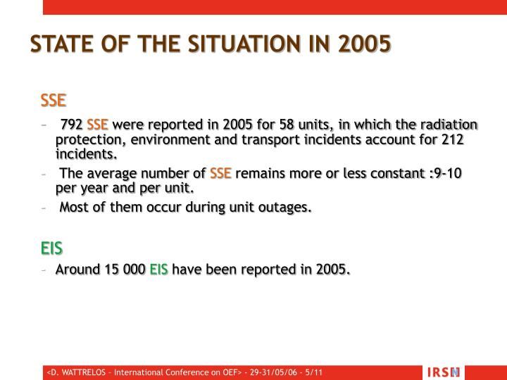 STATE OF THE SITUATION IN 2005