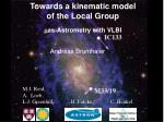 towards a kinematic model of the local group as astrometry with vlbi