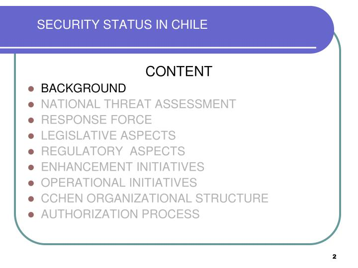 SECURITY STATUS IN CHILE