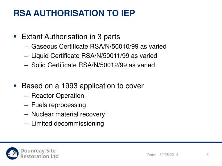 RSA AUTHORISATION TO IEP
