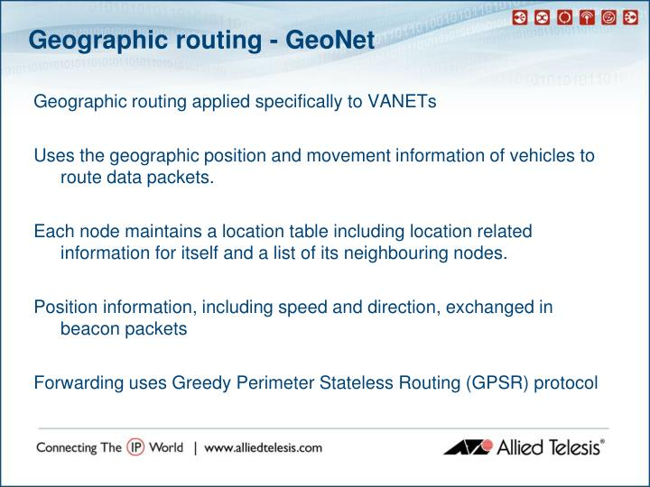 Geographic routing - GeoNet