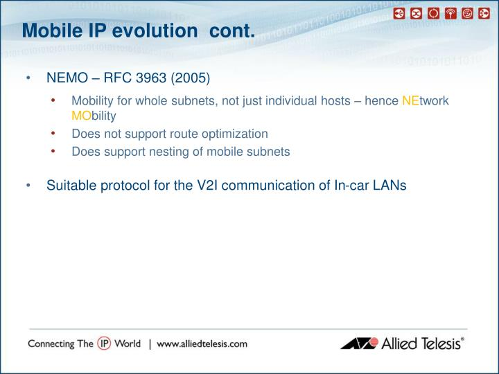 Mobile IP evolution  cont.