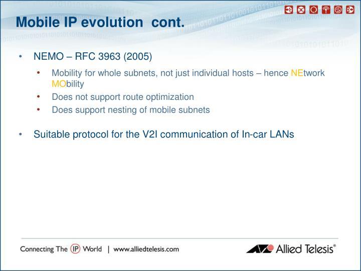 Mobile IP evolution  cont.