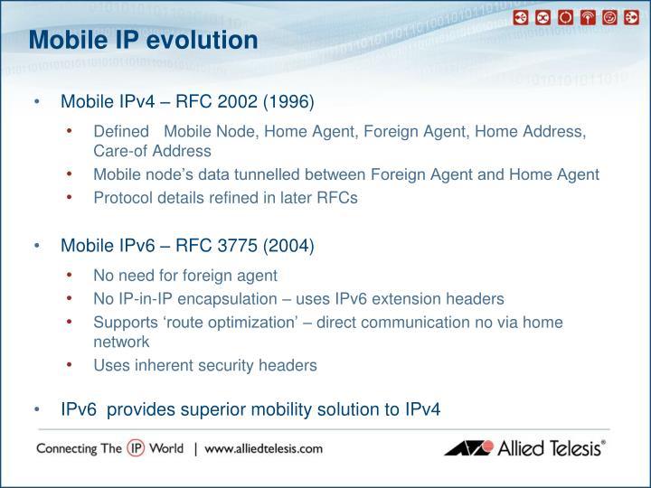 Mobile IP evolution