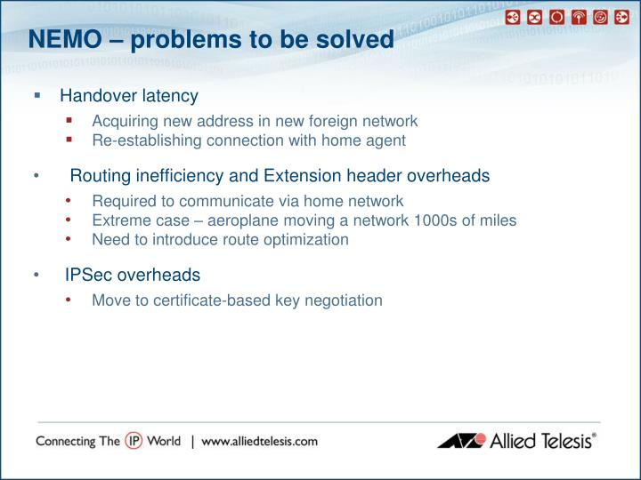 NEMO – problems to be solved