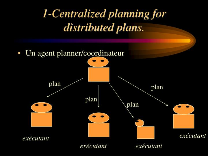 1-Centralized planning for distributed plans.
