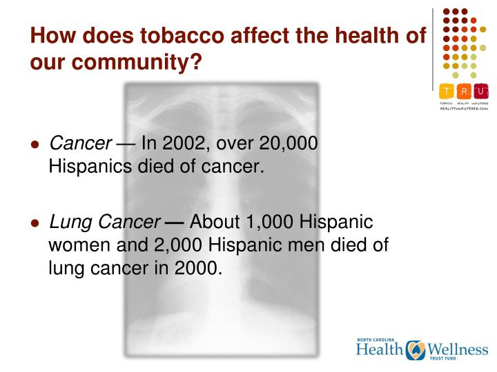 How does tobacco affect the health of our community?
