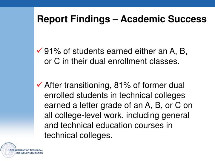 Report Findings – Academic Success