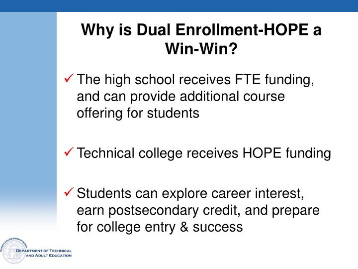 Why is Dual Enrollment-HOPE a Win-Win?