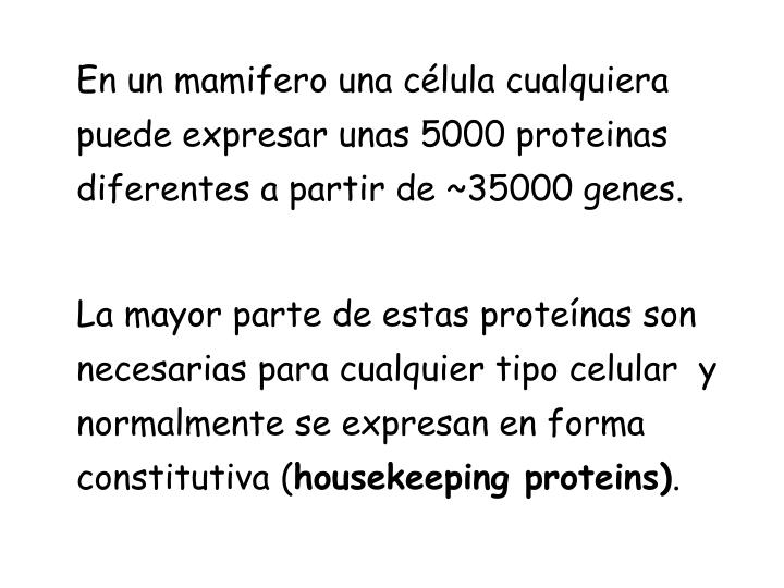 En un mamifero una célula cualquiera puede expresar unas 5000 proteinas diferentes a partir de ~35000 genes.