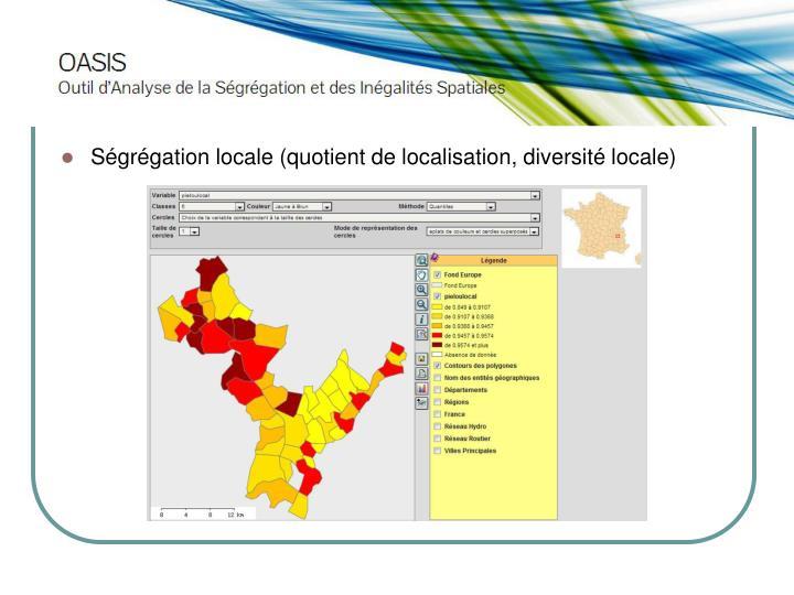 Ségrégation locale (quotient de localisation, diversité locale)