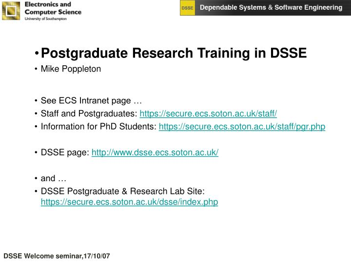 Postgraduate Research Training in DSSE