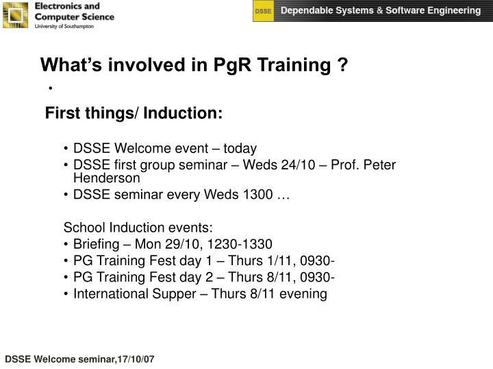What's involved in PgR Training ?