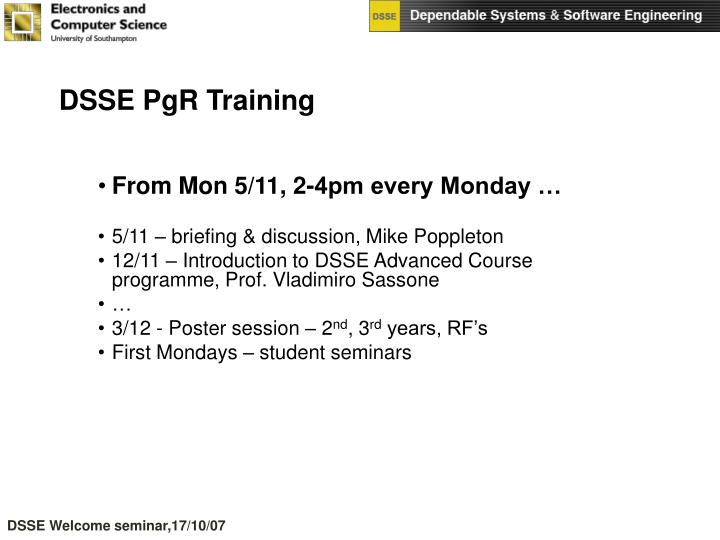 DSSE PgR Training