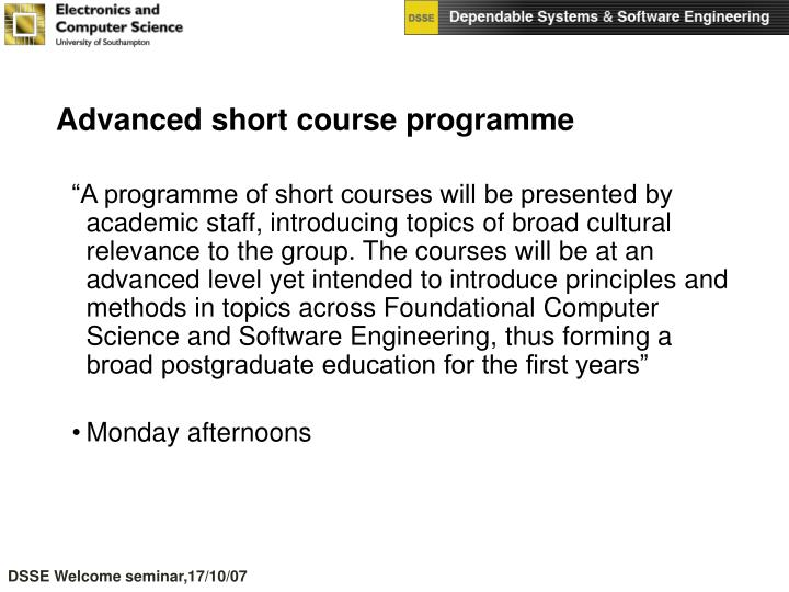 Advanced short course programme