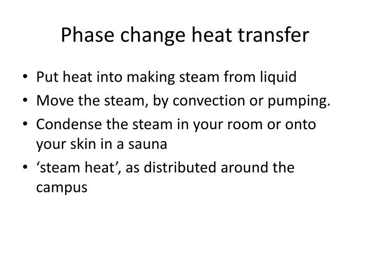 Phase change heat transfer