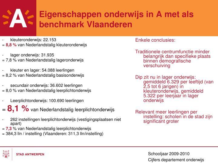 Eigenschappen onderwijs in A met als  benchmark Vlaanderen